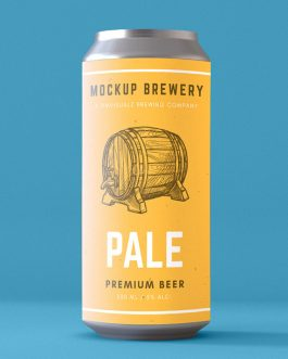 16 oz can single psd mockup
