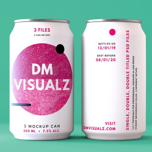 12 oz can double psd mockup