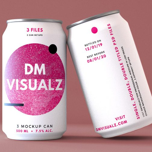 12 oz can double tilted psd mockup