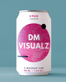 12 oz can single psd mockup