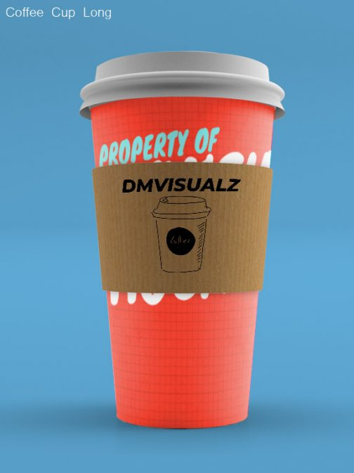 Coffee Cup long with sleeve psd mockup
