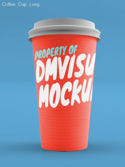 Coffee Cup long without sleeve psd mockup