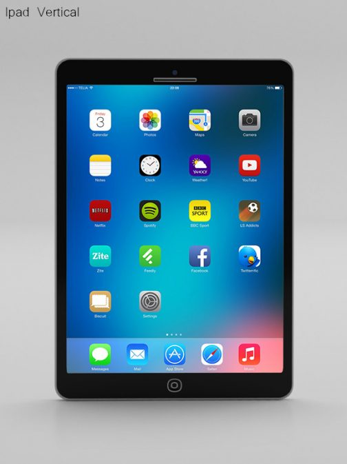 Ipad vertical black psd mockup