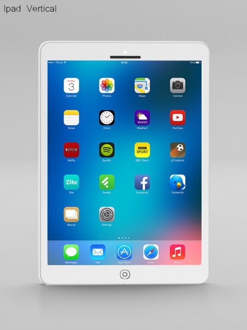 Ipad vertical white psd mockup