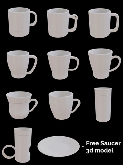 3D Cups Model Pack product image DMvisualz